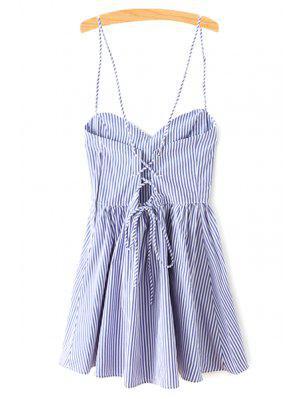 Vestido Ajustado Sin Manga Con Tirante Fino A Rayas - Azul S