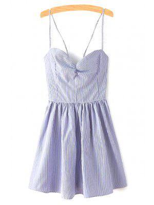 Vestido Ajustado Sin Manga Con Tirante Fino Con Tira Cruzada - Azul L