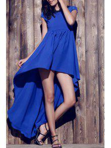 Boat Neck Uneven Hem Chiffon Dress - Purplish Blue L
