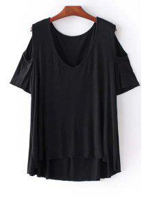 Cold Shoulder Round Neck Solid Color T-Shirt - Black L
