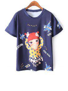 Imprimir Dibujos Animados Camiseta Azul - Azul L