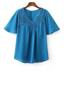 Lace Splice V Neck Short Sleeve T-Shirt - Blue L