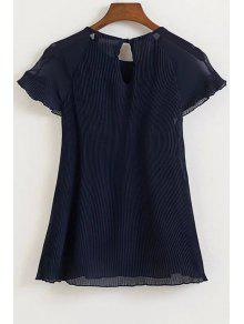 Pleated Round Neck Short Sleeve Chiffon Blouse - Cadetblue L