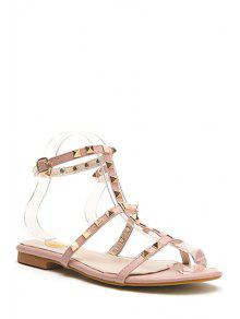 Buy Rivet T-Strap Flat Heel Sandals - PINK 35