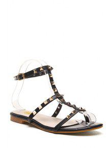Buy Rivet T-Strap Flat Heel Sandals - BLACK 36