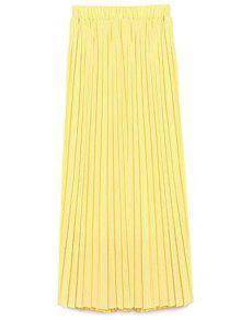 Color Sólido De Alta Cintura Una Línea De Falda De Gasa - Amarillo L