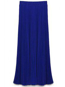 Buy Solid Color High Waist A-Line Chiffon Skirt - BLUE S