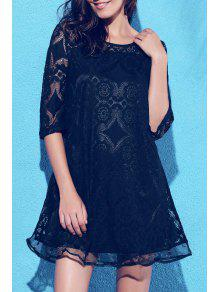 A-Line Guipure Lace Swing Dress - Black 3xl