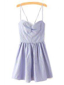 الفستان المناسب مع الرباط والحبال الإيطالية بلا أكمام - أزرق S