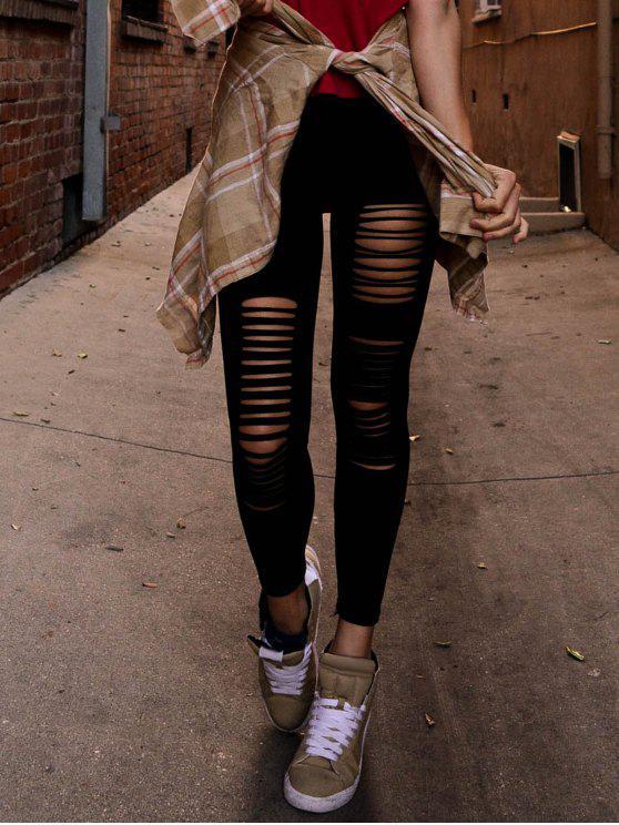 Leggings Slim Noir Déchiré - Noir Taille Unique