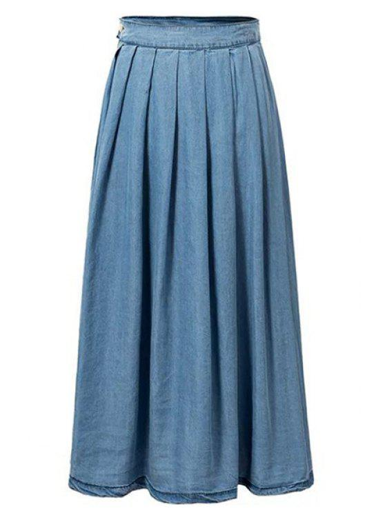 hot Light Blue High Waist Denim Skirt - LIGHT BLUE M