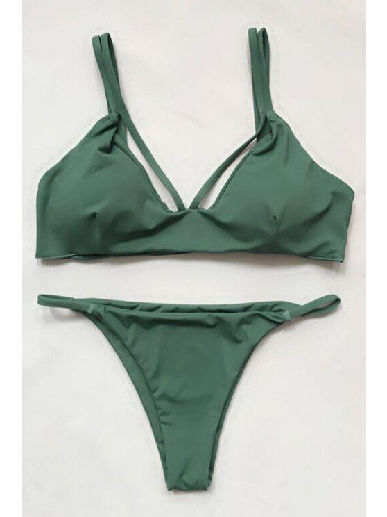 affordable Women High-Cut Green Bikini Set - GREEN M