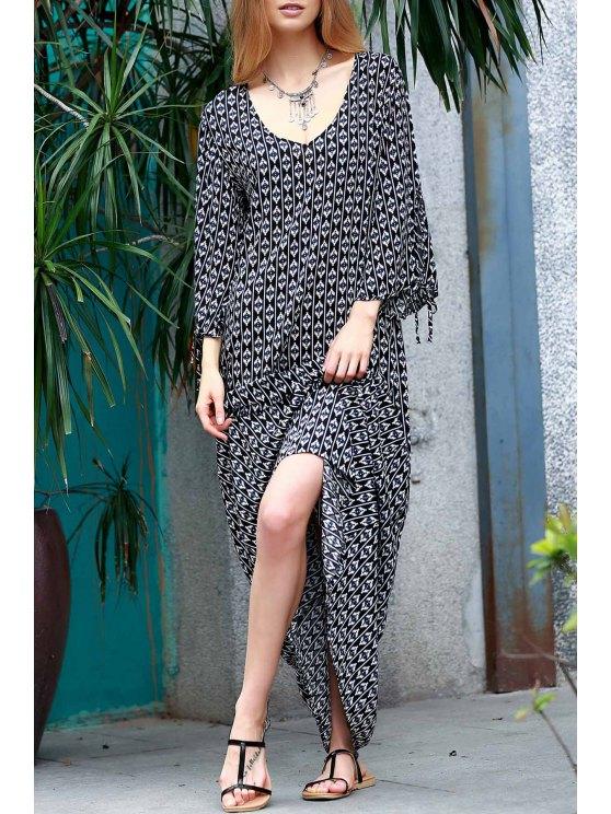 chic Printed Split Sleeve Floor-Length Dress - WHITE AND BLACK M