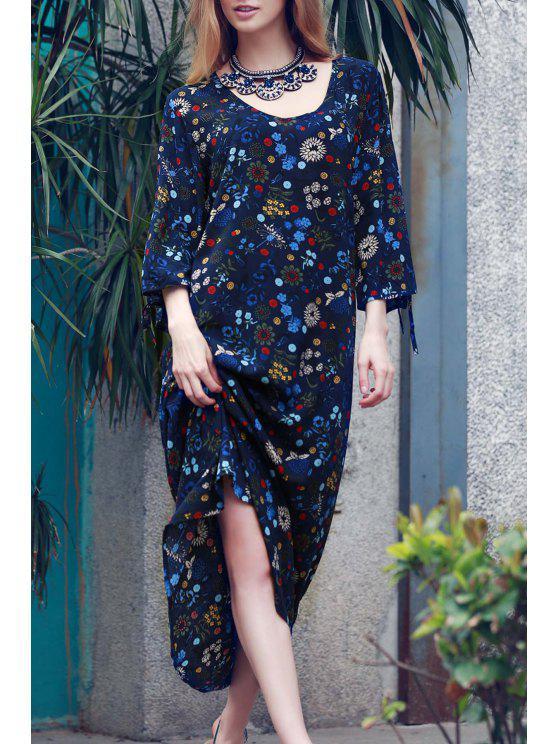 فستان بوهو انقسام الأكمام طباعة الأزهار - أزرق M