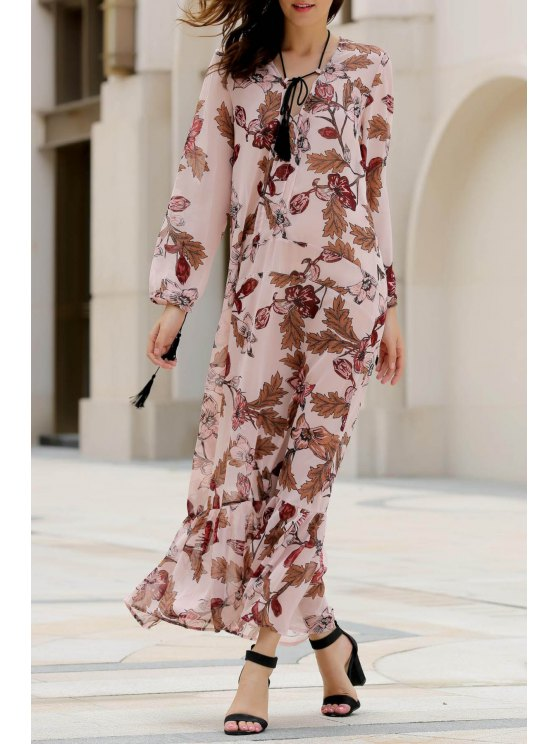 ladies Printed Plunging Neck Long Sleeve Maxi Dress - PINK S