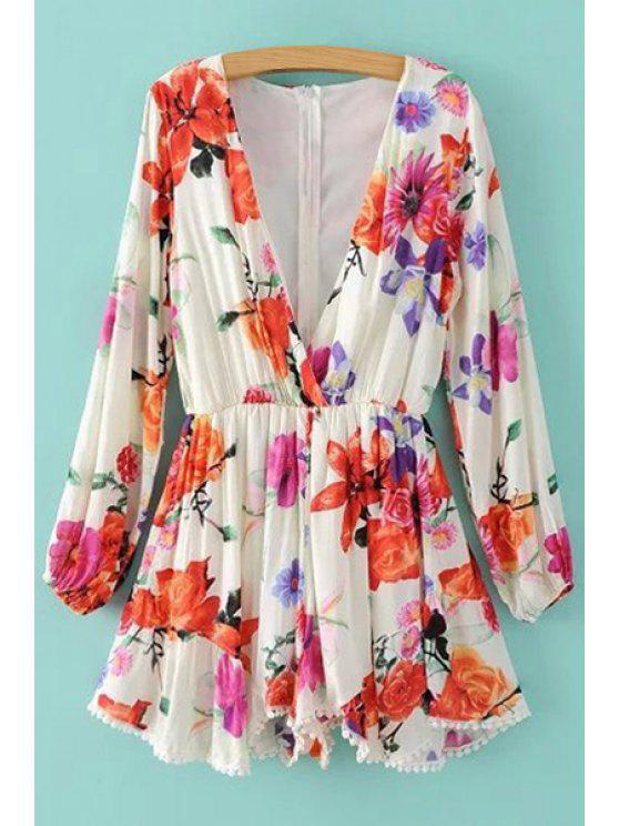Plongeant cou imprimé floral manches longues Romper - Blanc L