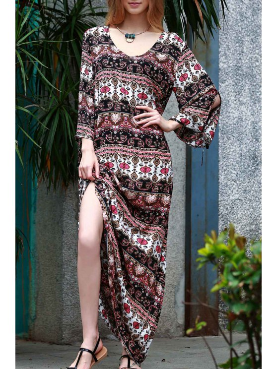 sale Ethnic Print Floor-Length Dress - COLORMIX M