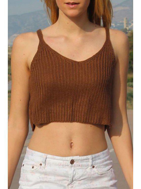 online Khaki Sleeveless Knit Crop Top - KHAKI ONE SIZE(FIT SIZE XS TO M)