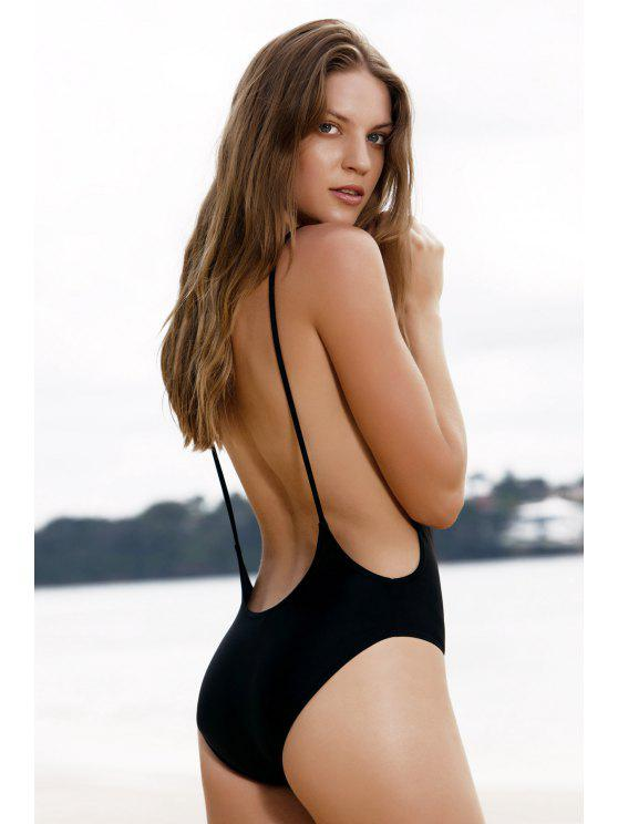 affordable Monokini High Cut Backless One-Piece Swimwear - BLACK M