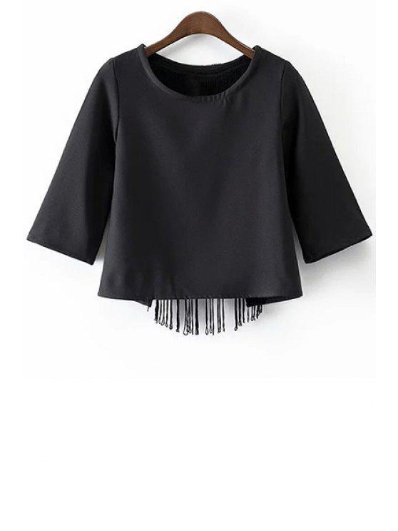 unique Black Tassels Cut Out Round Neck Half Sleeve T-Shirt - BLACK M
