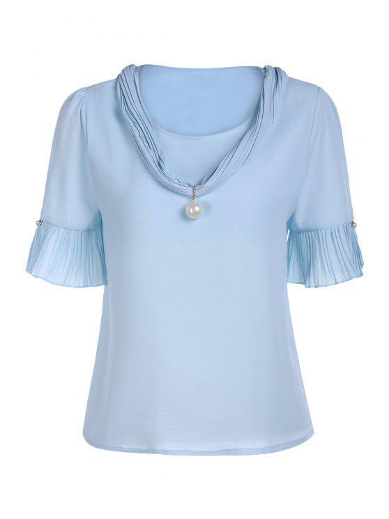 Manga de la perla embellecido V del cortocircuito del cuello de la camiseta - Azul Un tamaño(Montar tam