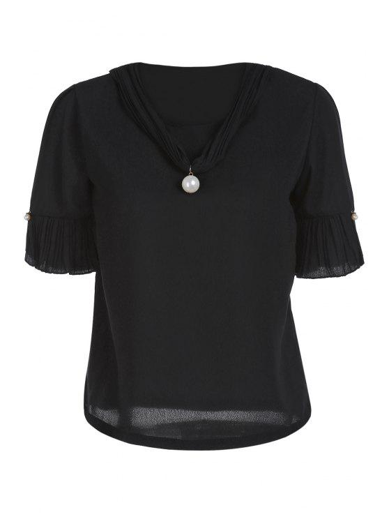 ladies Pearl Embellished V Neck Short Sleeve T-Shirt - BLACK ONE SIZE(FIT SIZE XS TO M)