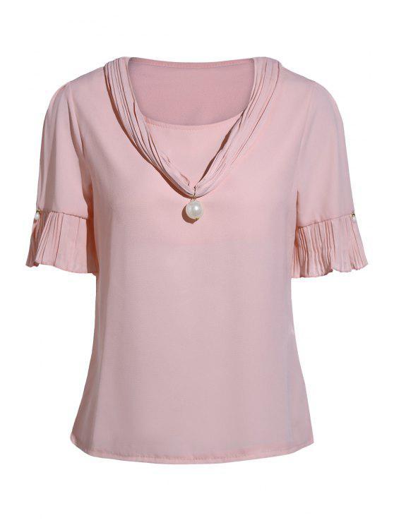 Manga de la perla embellecido V del cortocircuito del cuello de la camiseta - Rosa Un tamaño(Montar tam