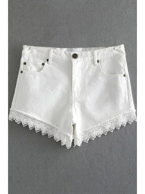 women's Fitted Lace Hook High Waist Denim Shorts - WHITE XL