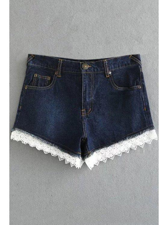 unique Fitted Lace Hook High Waist Denim Shorts - DEEP BLUE M