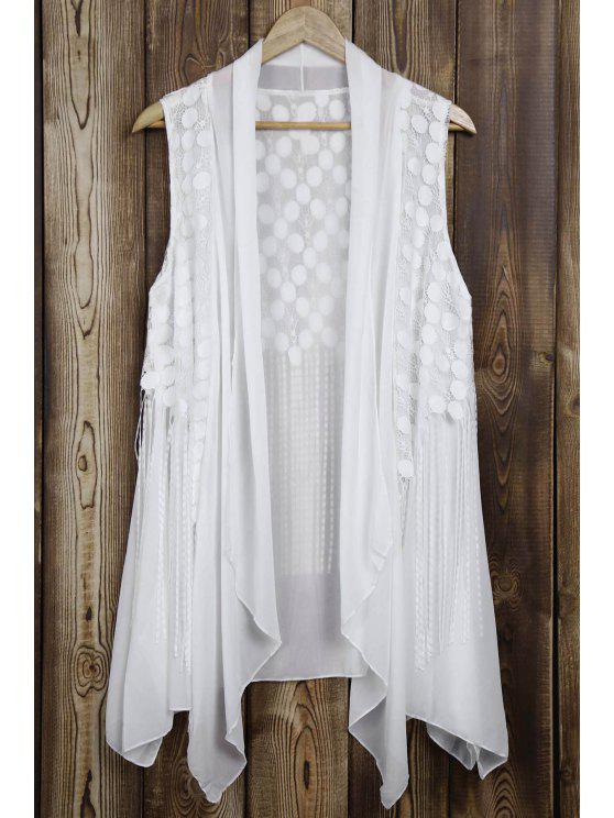 women Lace Splice Tassels Turn Down Collar Waistcoat - WHITE ONE SIZE(FIT SIZE XS TO M)