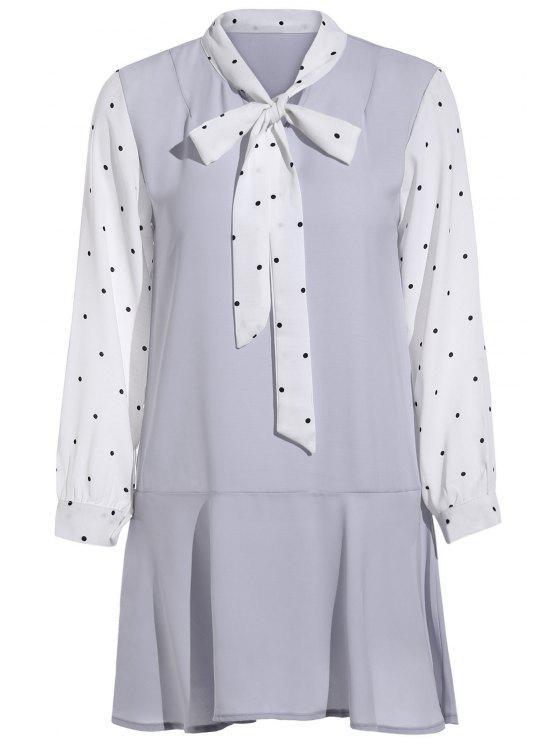 sale Polka Dot Self Tie Long Sleeve Dress - PURPLE ONE SIZE(FIT SIZE XS TO M)