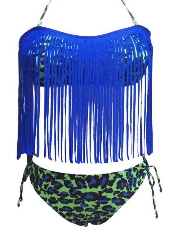 Leopard Print Halter Glands Spliced Bikini - Bleu M