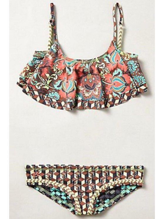 Bikini a motif digital avec bretelle spaghetti - Multicolore L