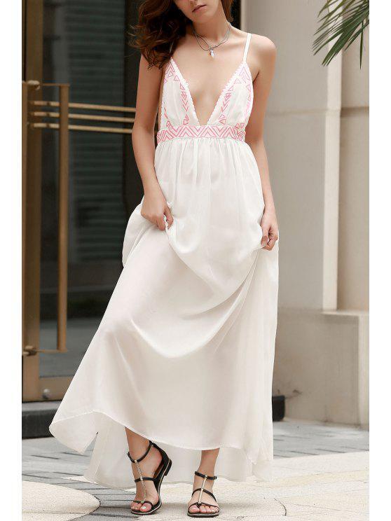 Spaghettiträger Cami Maxi Kleid - Weiß S