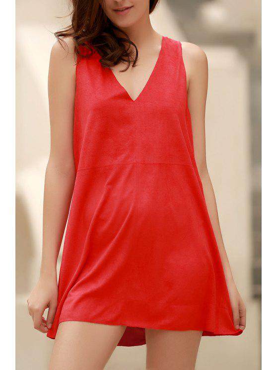 women Red Faux Suede Plunging Neck Sleeveless Dress - RED L