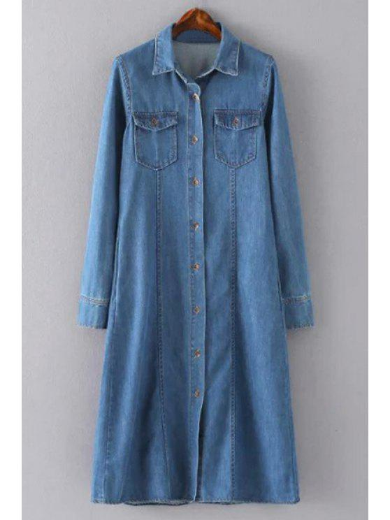 chic Blue Denim Turn Down Collar Long Sleeve Shirt Dress - BLUE M