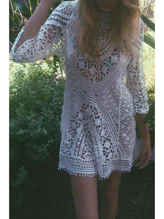 Manches 3/4 évider Crochet Cover-Up - Blanc Taille Unique(S'adap