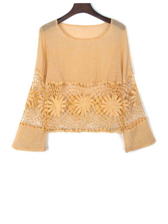 Lace Spliced Ausschnitte Rundhalsausschnitt-Aufflackern-Hülsen-Bluse - Gelb S