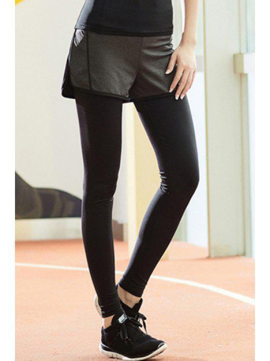 Chic taille haute stretch Faux deux pièces Sport pantalons pour femmes - Noir L
