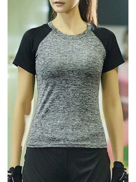 hot Contrast Raglan Sleeve Heathered T-Shirt - SMOKY GRAY L