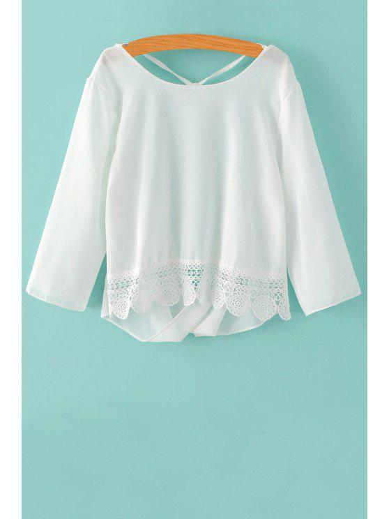 fashion Back Cut Out 3/4 Sleeve Lace Spliced Blouse - WHITE S