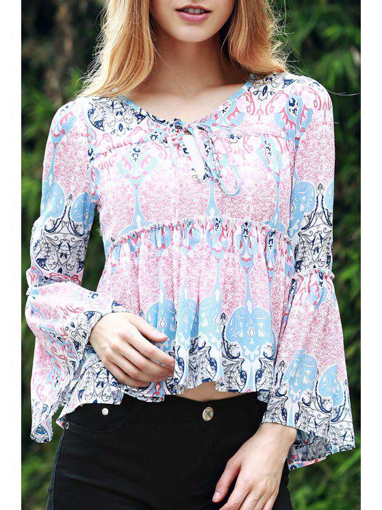 outfit Bell Sleeve Printed Trapeze Top - BLUE AND PINK M