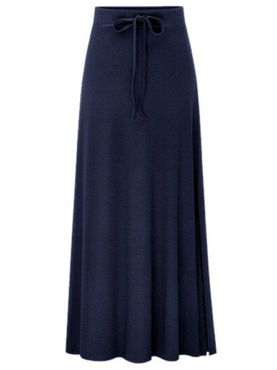 women's Side Vent Solid Color Long Skirt - DEEP BLUE L