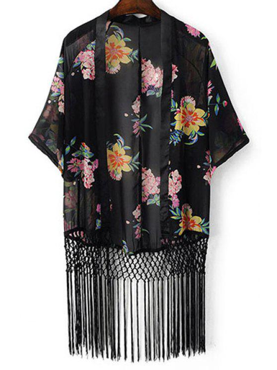 outfits Floral Print Batwing Sleeve Tassels Spliced Blouse - BLACK M