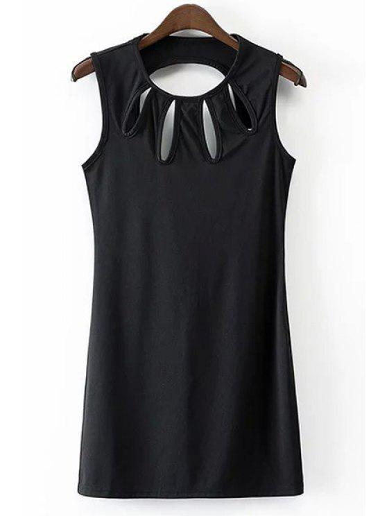 hot Solid Color Hollow Out Jewel Neck Sleeveless Dress - BLACK S