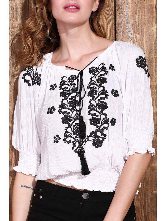 online Embroidered Elastic Hem White Top - WHITE S