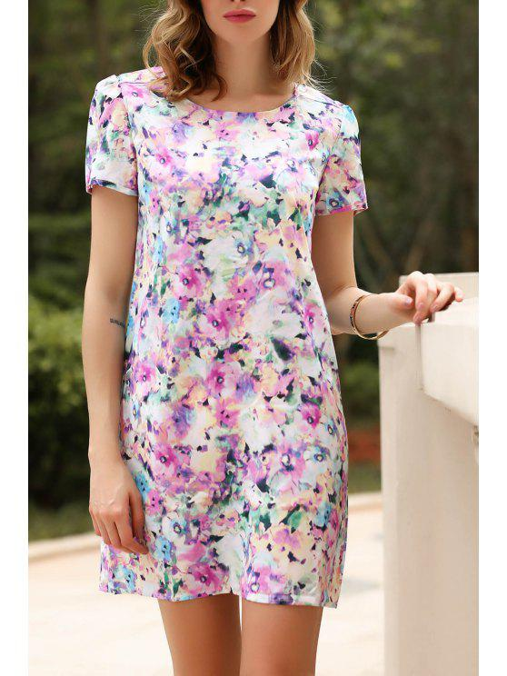0a819847519 29% OFF  2019 Short Sleeve Full Floral Straight Dress In COLORMIX ...