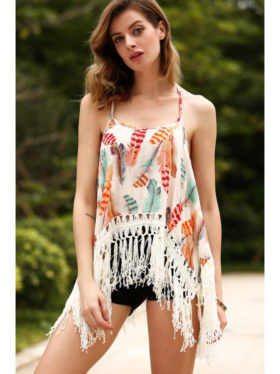 fancy Tassels Spliced Spaghetti Straps Printed Tank Top - RED ONE SIZE(FIT SIZE XS TO M)