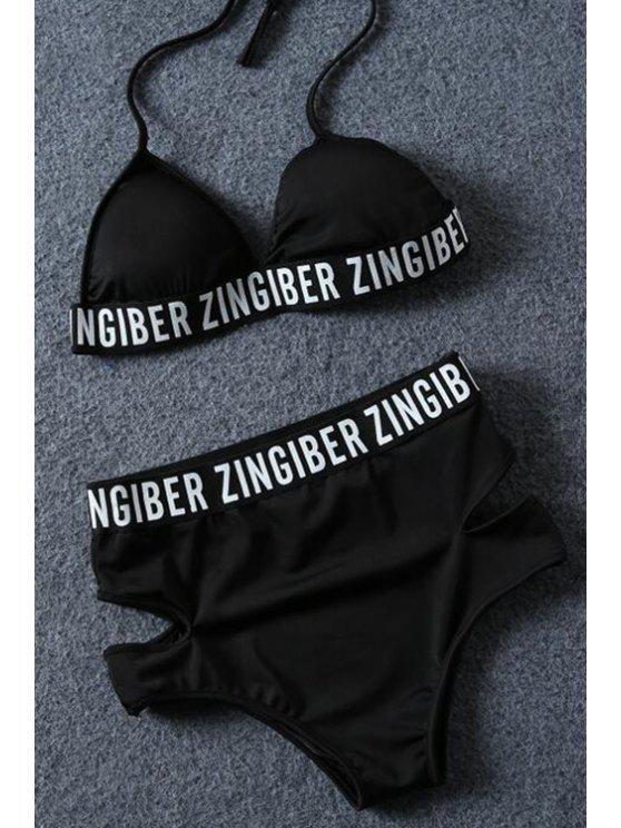 fashion Letter Print Halter Bikini Set - BLACK L
