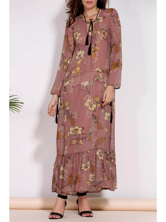 women's Printed Plunging Neck Long Sleeve Maxi Dress - BROWN L